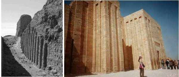 [Image: Heirakonpolis and Djoser walls]